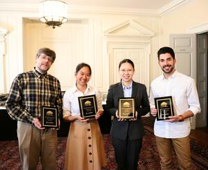 From left to right: Dr. Alexey Stepanov (Dept. of Statistics), Dr. Pinshane Huang (Dept. of Materials Science and Engineering), Dr. Xiaoli Guo (Dept. of Political Science) and Ander Beristain (Dept. of Spanish and Portuguese).